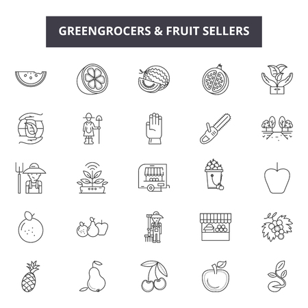 Greengrocers and fruits sellers line icons, signs set, vector. Greengrocers and fruits sellers outline concept illustration: seller,fruit,food,greengrocer,market,fresh,vegetable,farm