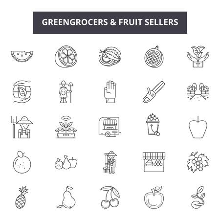 Greengrocers and fruits sellers line icons, signs set, vector. Greengrocers and fruits sellers outline concept illustration: seller,fruit,food,greengrocer,market,fresh,vegetable,farm