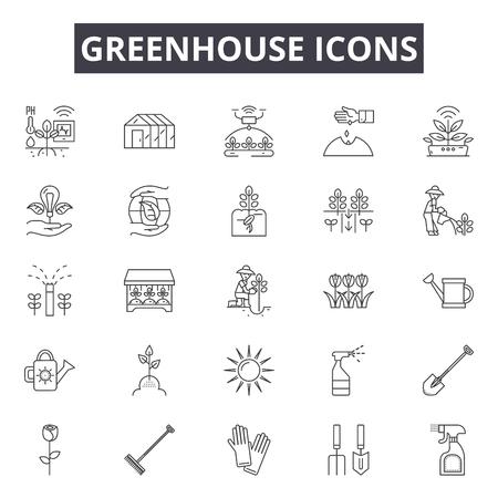 Icone della linea di serra, set di segni, vettore. Illustrazione del concetto di contorno della serra: serra, pianta, giardino, organico, natura Vettoriali