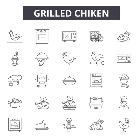 Grilled chiken line icons, signs set, vector. Grilled chiken outline concept illustration: meat,food,chicken,grilled,restaurant,meal,background Vettoriali