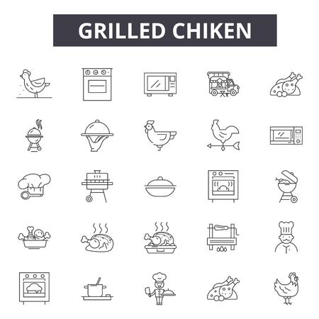 Grilled chiken line icons, signs set, vector. Grilled chiken outline concept illustration: meat,food,chicken,grilled,restaurant,meal,background Illustration