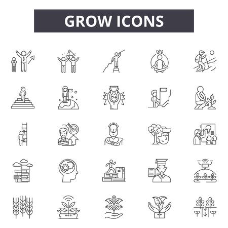 Wachsen Sie Liniensymbole, Zeichensatz, Vektor. Wachsen Sie Umrisskonzeptillustration: Wachstum, Wachsen, Pflanze, Samen, Blatt, Linie Vektorgrafik