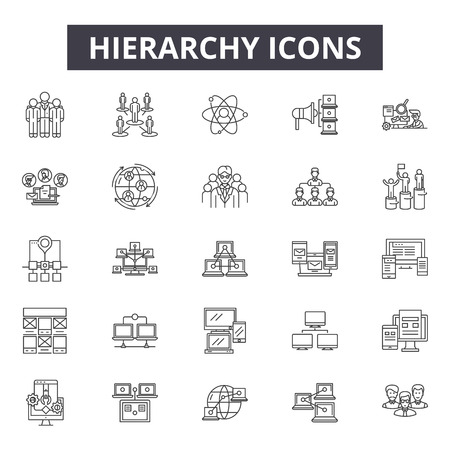 Hierarchy line icons, signs set, vector. Hierarchy outline concept illustration: hierarchy,business,organization,team,chart,structure