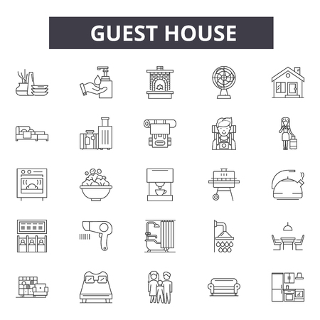 Guest hotel house line icons, signs set, vector. Guest hotel house outline concept illustration: hotel,guest,building,house,room,home,apartment