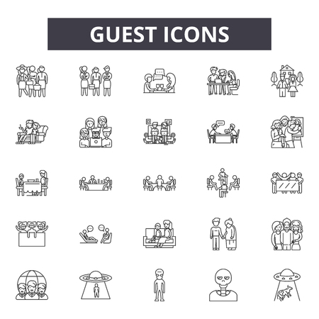 Guest line icons, signs set, vector. Guest outline concept illustration: guest,business,isolated,service,hotel 일러스트