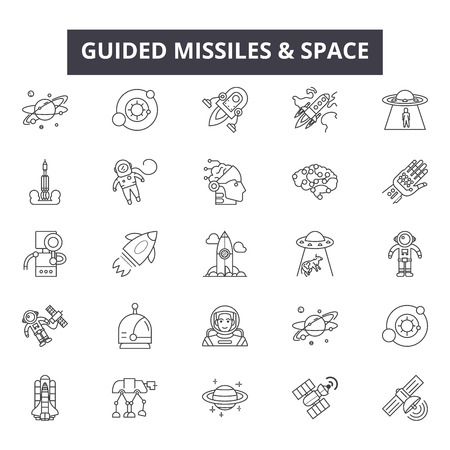 Guided missiles space line icons, signs set, vector. Guided missiles space outline concept illustration: fly,travel,space,transportation,science,spaceship,missile,graphic,rocket