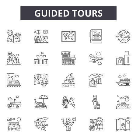 Icônes de ligne de visites guidées, ensemble de signes, vecteur. Les visites guidées décrivent l'illustration du concept : guide, visite, voyage, tourisme, vacances