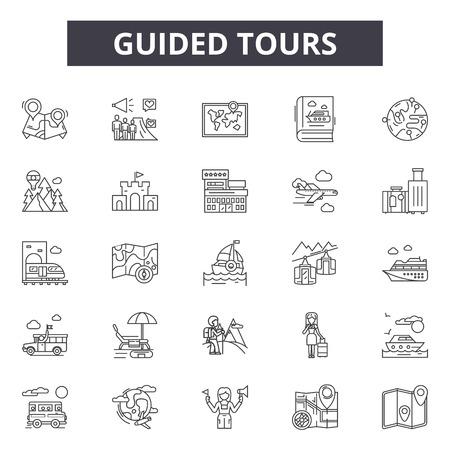 Icone della linea di visite guidate, set di segni, vettore. Illustrazione del concetto di contorno di visite guidate: guida, tour, viaggio, turismo, vacanza