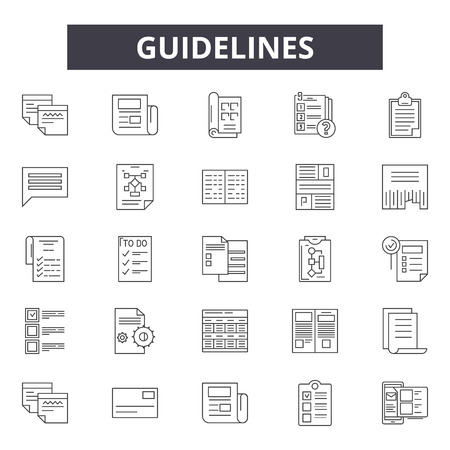 Guidelines line icons, signs set, vector. Guidelines outline concept illustration: guideflat,law,concept,information