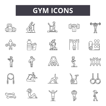 Gym line icons, signs set, vector. Gym outline concept illustration: gym,fitness,weight,muscle,health,sport,exercise,healthy