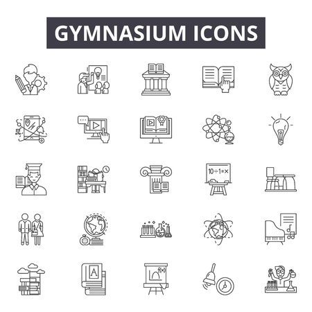 Gymnasium line icons, signs set, vector. Gymnasium outline concept illustration: gymnasium,gym,exercise,sport,training,fitness,healthy  イラスト・ベクター素材