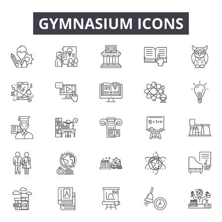 Gymnasium line icons, signs set, vector. Gymnasium outline concept illustration: gymnasium,gym,exercise,sport,training,fitness,healthy Ilustração