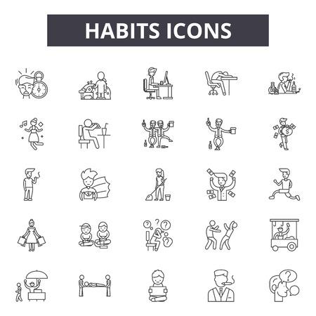 Icônes de ligne d'habitudes, ensemble de signes, vecteur. Les habitudes décrivent l'illustration du concept : habitude, santé, mode de vie, isolé