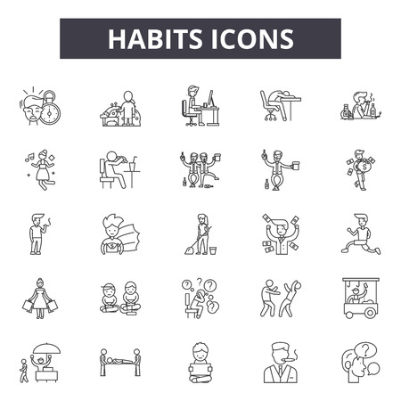 Iconos de línea de hábitos, conjunto de signos, vector. Ilustración del concepto de esquema de hábitos: hábito, salud, delifestyle, aislado