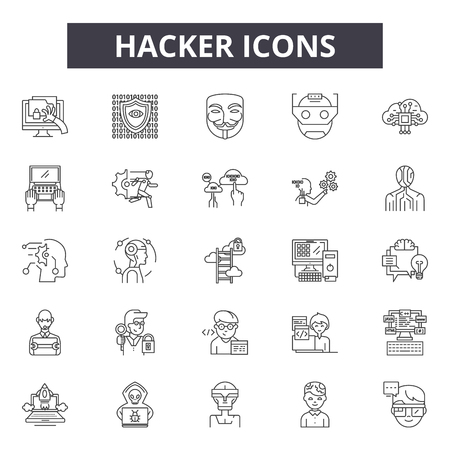 Hacker line icons, signs set, vector. Hacker outline concept illustration: computer,hacker,criminal,crime,internet,web,spy,data