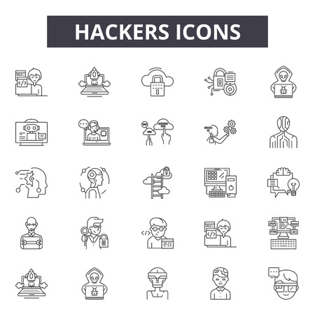 Hackers line icons, signs set, vector. Hackers outline concept illustration: computer,hacker,criminal,crime,internet,web,spy,data Stockfoto - 120896344