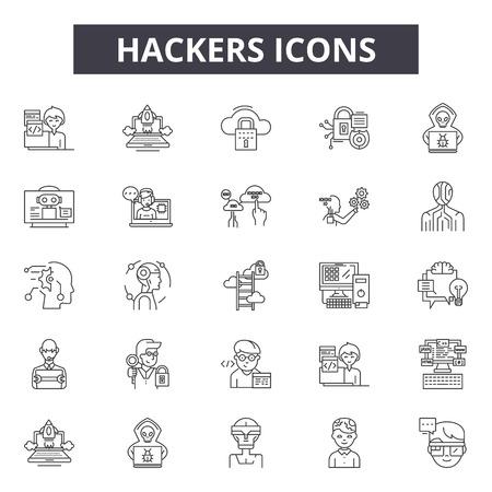 Hakerzy linii ikony, zestaw znaków, wektor. Hakerzy zarys ilustracja koncepcja: komputer, haker, przestępca, przestępstwo, internet, sieć, szpieg, dane