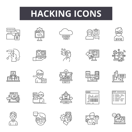 Hacking line icons, signs set, vector. Hacking outline concept illustration: hacking,protection,security,hacker,safety,computer,web,data