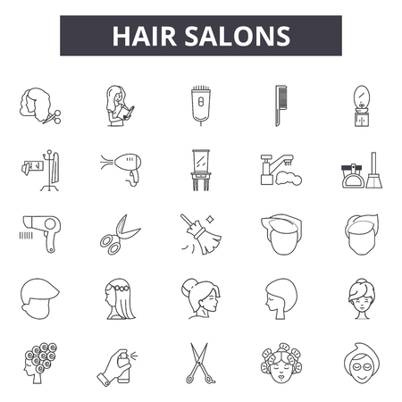 Hair salons line icons, signs set, vector. Hair salons outline concept illustration: salon,hair,beauty,haircut,care,scissors Standard-Bild - 120896353