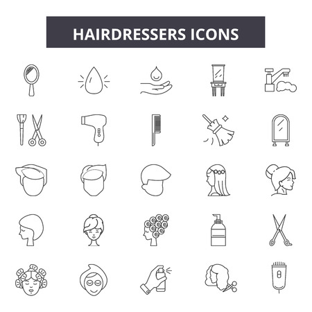 Hairdressers line icons, signs set, vector. Hairdressers outline concept illustration: hairdresser,hair,haircut,barber,scissors,comb,salon