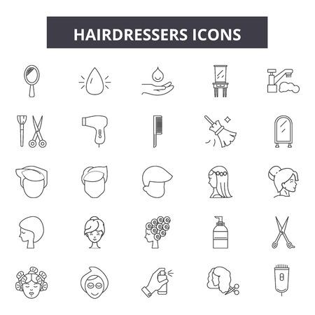 Icônes de ligne de coiffeurs, ensemble de signes, vecteur. Les coiffeurs décrivent l'illustration du concept : coiffeur, cheveux, coupe de cheveux, coiffeur, ciseaux, peigne, salon Vecteurs