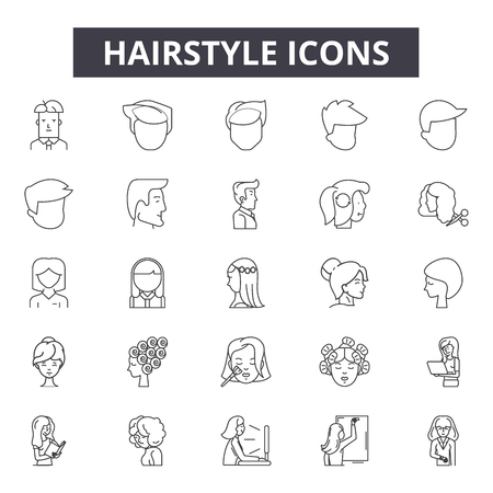 Hairstyle line icons, signs set, vector. Hairstyle outline concept illustration: hair,hairstyle,face,beauty,isolated,fashion