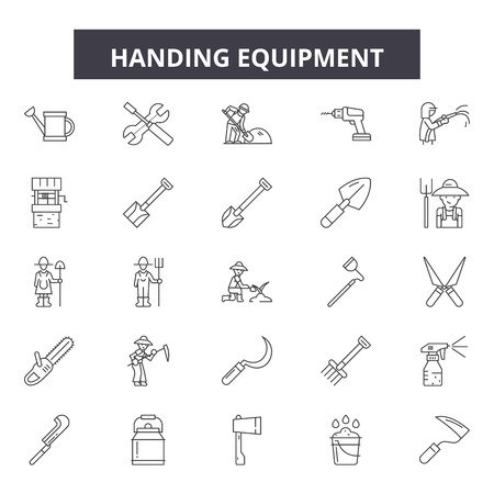 Handing equipment line icons, signs set, vector. Handing equipment outline concept illustration: equipment,hand,collection