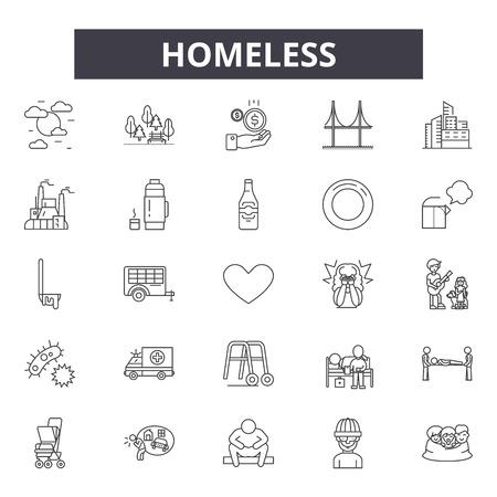 Icone della linea di senzatetto, set di segni, vettore. Illustrazione del concetto di contorno senzatetto: senzatetto,persone,povertà,poveri,uomo,carità,aiuto Vettoriali