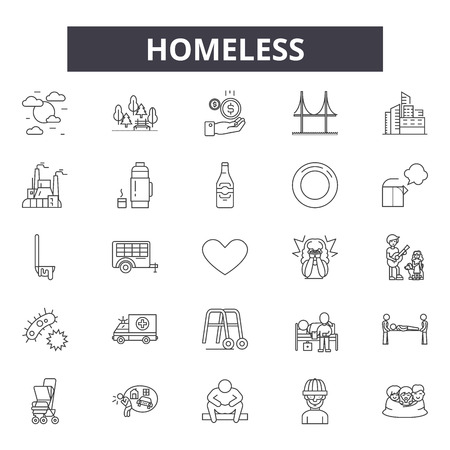 Iconos de línea sin hogar, conjunto de signos, vector. Ilustración del concepto de esquema sin hogar: sin hogar, personas, pobreza, pobres, hombre, caridad, ayuda Ilustración de vector