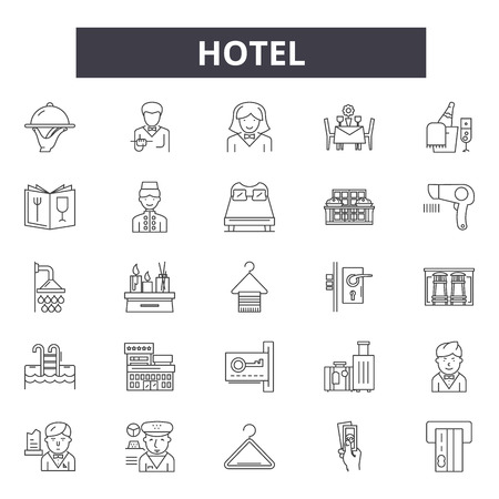 Hotel concept line icons, signs set, vector. Hotel concept outline concept illustration: hotel,concept,business,travel,service,holiday,background Illustration