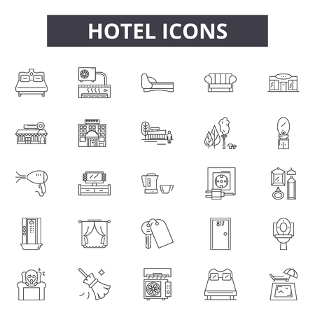 Hotel line icons, signs set, vector. Hotel outline concept illustration: hotel,vacation,travel,bed,room,service,luggage