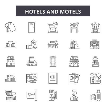 Hotels and motels line icons, signs set, vector. Hotels and motels outline concept illustration: hotel,motel,travel,room,bed,set Ilustração