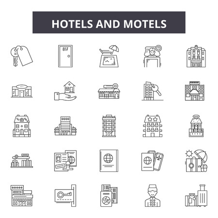Hotels and motels line icons, signs set, vector. Hotels and motels outline concept illustration: hotel,motel,travel,room,bed,set Illustration