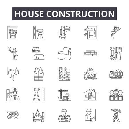 House construction line icons, signs set, vector. House construction outline concept illustration: construction,house,crane,helmet,tools,builder