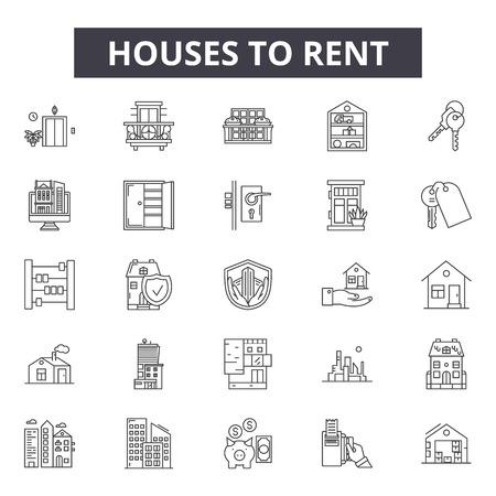 Houses to rent line icons, signs set, vector. Houses to rent outline concept illustration: house,rent,home,sale,apartment,building,estate Ilustração