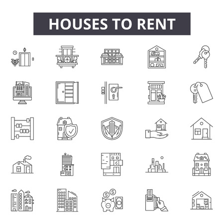 Houses to rent line icons, signs set, vector. Houses to rent outline concept illustration: house,rent,home,sale,apartment,building,estate Illustration