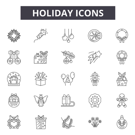 Holiday line icons, signs set, vector. Holiday outline concept illustration: holiday,beach,desummer