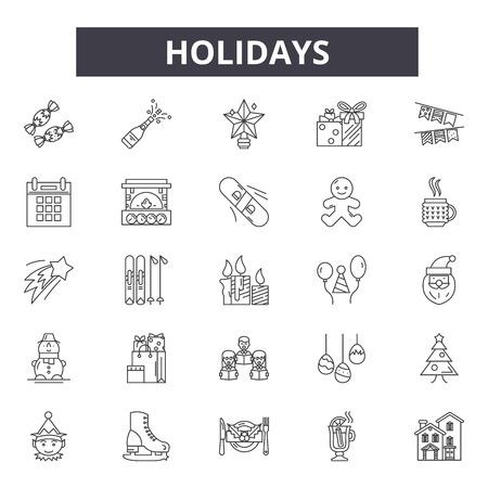 Icônes de ligne de vacances, ensemble de signes, vecteur. Vacances contour concept illustration : maison de vacances,plage,desummer