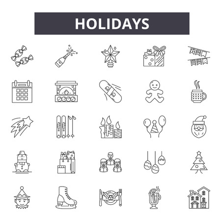 Holidays line icons, signs set, vector. Holidays outline concept illustration: holiday,beach,desummer
