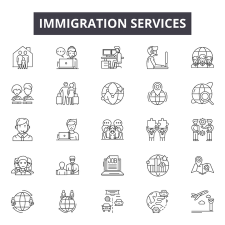 Immigration services line icons, signs set, vector. Immigration services outline concept illustration: immigration,travel,passport,document,international,country 向量圖像