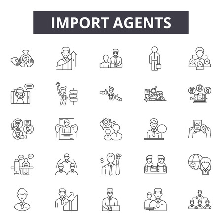 Import agents line icons, signs set, vector. Import agents outline concept illustration: agent,transportation,export,delivery,shipping,cargo,international,container