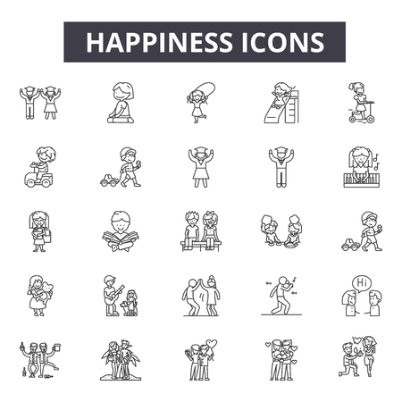 Happiness line icons, signs set, vector. Happiness outline concept illustration: happy,smile,fun,face,set 向量圖像