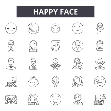 Happy face line icons, signs set, vector. Happy face outline concept illustration: happy,smile,face,emotcartoon,funny