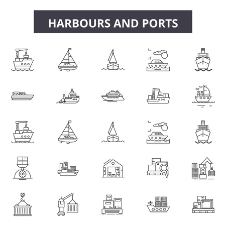 Harbours line icons, signs set, vector. Harbours outline concept illustration: harbour,port,container,business,freight,transportation,ship