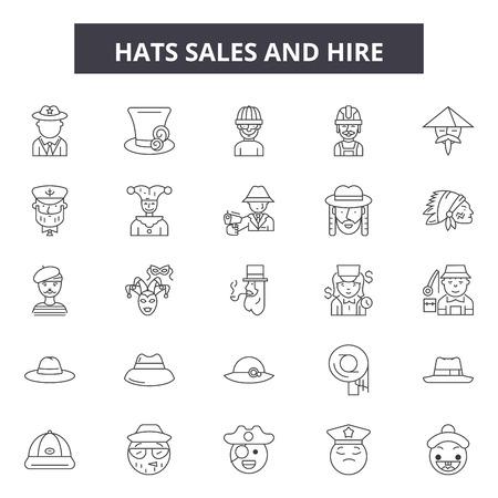Hats sales and hire line icons, signs set, vector. Hats sales and hire outline concept illustration: sale,hat,business,hire,web,work,set Illustration