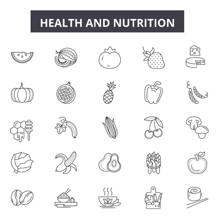 Health and nutrition line icons, signs set, vector. Health and nutrition outline concept illustration: health,diet,nutrition,fitness,exercise,food,healthy,gym