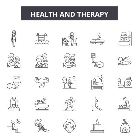 Icone della linea di salute e terapia, set di segni, vettore. Illustrazione del concetto di contorno di salute e terapia: salute, terapia, medicina, medicina, uomo, cura, simbolo Vettoriali
