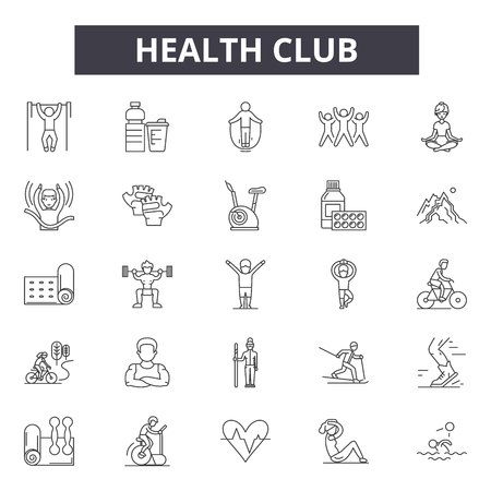 Health club line icons, signs set, vector. Health club outline concept illustration: health,club,gym,fitness,sport,healthy