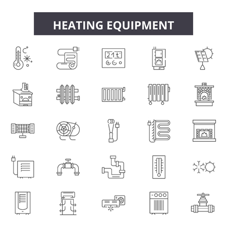 Heating equipment line icons, signs set, vector. Heating equipment outline concept illustration: equipment,heat,deelectric,isolated Vector Illustration
