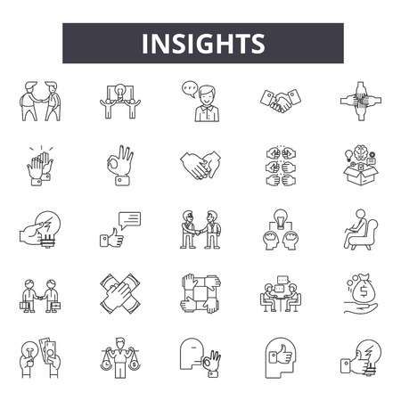 Insights line icons, signs set, vector. Insights outline concept illustration: insight,business,concept,idea,bulb,innovation,technology